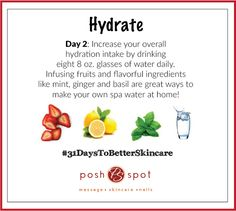 It's easy to drink more water when it's fancy and flavorful! What's your intake so far today? ‪#‎31DaysToBetterSkincare‬