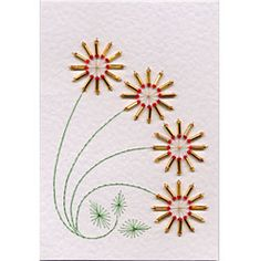 Four Bead Flowers | Flowers patterns at Stitching Cards.