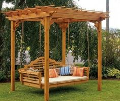 Enhance your outdoor space with this cedar swing bed and pergola! Imagine swinging away in a comfortable breeze or reading in a shaded escape. Youll definitely enjoy many years of entertaining and relaxing in this beautiful swing bed and pergola. Cedar Pergola, Pergola Swing, Outdoor Pergola, Backyard Pergola, Backyard Landscaping, Outdoor Decor, Backyard Ideas, Landscaping Ideas, Pergola Lighting