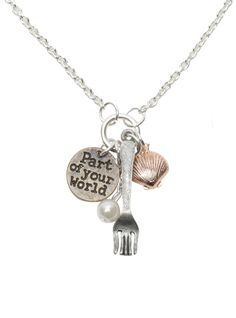 "NEW DISNEY The Little Mermaid Princess Ariel Fork Shell Charm Necklace 18"" Chain"