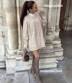 Beautiful ✔️✔️✔️ Shopping link in bio. Mom Outfits, Simple Outfits, Chic Outfits, Sweater Dress Boots, Knit Dress, Knitwear Fashion, Fall Winter Outfits, All About Fashion, Cardigans For Women