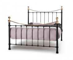 Ethan black and brass metal bed frame, Victorian in design and contemporary in comfort.