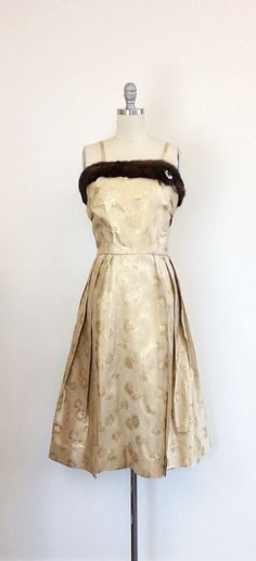 50s Gold Brocade Wiggle Dress 1950s by CheshireVintageShop