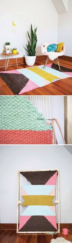 DIY Woven Rug by Rachel Denbow on the blog from her new book DIY Woven Art #DIYWovenArt