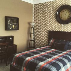 Where would you stencil the Herringbone Brick pattern? We think it looks awesome in this teen boy's bedroom painted by StettieHand, LLC!  Buy this stencil:  http://www.cuttingedgestencils.com/herringbone-brick-pattern-stencil-wall-decor.html?utm_source=JCG&utm_medium=Pinterest%20Comment&utm_campaign=HERRINGBONE%20BRICK%20ALLOVER%20STENCIL