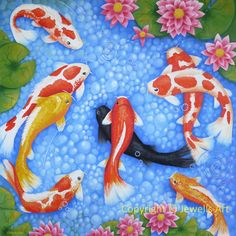 Feng Shui Art 'Wealth and Blessings 9 Koi Fish Giclee Print from my Original Painting, Spiritual Art, Healing Art, Art & Collectibles Feng Shui Koi Fish, Feng Shui Art, Acrylic Painting Canvas, Koi Painting, Canvas Art, Fish Print, Pink Lily, Fine Art Paper, Original Paintings