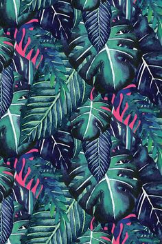 Jungalow Brights No.6 by lottiefrank - Hand painted palm and monstera leaves on fabric, wallpaper, and gift wrap. Deep emerald green leaves with neon highlights and layered leaves.