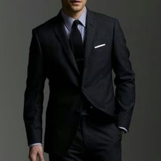 """One quality suit. It should be classic in cut of a fine lightweight wool in charcoal dark navy or black. Buy the best suit you can afford. Do not skimp here. Also take care to research--some brands are better """"suited"""" to specific body types. Mens Fashion Suits, Mens Suits, Men's Fashion, Fashion Clothes, Suit With Jacket, Business Attire For Men, Armani Suits, Classic Suit, Black Suits"""
