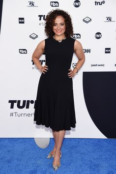 Judy Reyes attends the Turner Upfront 2017 arrivals on the red carpet at The Theater at Madison Square Garden on May 2017 in New York City. Judy Reyes, Madison Square Garden, Theater, Red Carpet, Actresses, York, Formal Dresses, City, Black