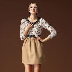 Long Sleeved Dresses For Women Khaki Black