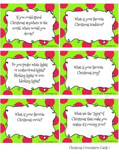 Christmas Conversation cards- Free printable conversation starters- great for the whole family.