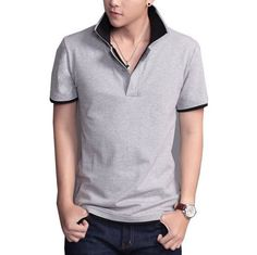 Casual Cotton Polo. Material: Cotton, Polyester. Collar: Turn-down Collar. Color: Grey. $21.99 unique-outfit.com