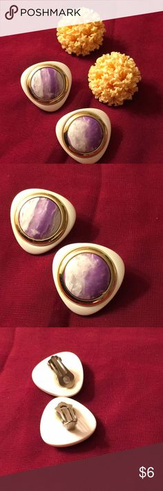 Two Pair Earrings Funky coral look clip on earrings and white with purple/ white plastic earrings. Jewelry Earrings