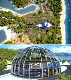 A 25-bedroom glass domed house built on the Isla Playa de Cleopatra in Turkey (hence the Egyptian theme) by architect, Luis de Garrido.  The structure is completely energy and water self-sufficient and features an amazing indoor landscaped terrace. Its comfortable microclimate provides constant flow of air, light and heat when necessary.