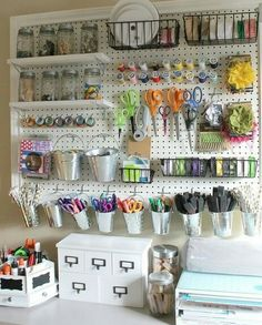 Craft room organization and storage ideas small corner room diy craft room ideas and craft room organization projects giant peg board cool ideas for do it yourself craft storage fabric paper pens solutioingenieria Choice Image