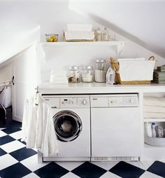 2013 Modern Laundry Room Design Ideas : Awesome White Small Attic Laundry Room Design with Open Shelving and Black White Ceramic Floor
