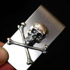 Jolly Roger Money Clip  Skull Cross Bones by blackpersimmons
