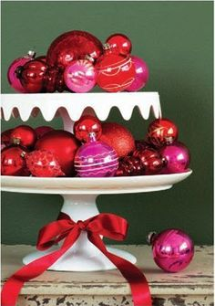 cheap ornaments and a cake stand
