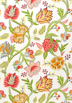 Cayman #wallpaper in #brights on #white from the Jubilee collection. #Thibaut #Floral