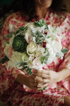 orchid, succulent, and dusty miller bouquet // photo by Comfort Studio