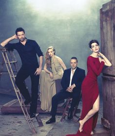 Cast of Les Miserables -- Hugh Jackman, Amanda Seyfried, Russell Crowe, Anne Hathaway | photo by Ruven Avanador for The Hollywood Reporter, 2012