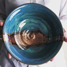 "10"" Copper and Turquoise stoneware bowl."