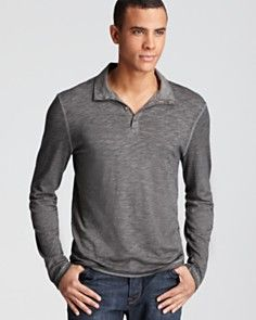 John Varvatos Star USA Pigment Sprayed Long Sleeve Polo