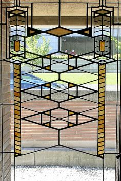 Stained glass window. Robie House. Frank Lloyd Wright. Prairie Style. Chicago. 1910
