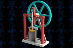 Steam Engine VI Mechanism - STEP / IGES,SOLIDWORKS,Parasolid - 3D CAD model - GrabCAD