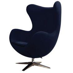 Sculptured Lounge Chair, Dark Blue Wool