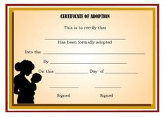 Adoption Certificate Template: 21 Free Certificates For You in Child Adoption Certificate Template Blank Certificate Template, Printable Certificates, Free Pet Adoption, Adoption Papers, Adoption Certificate, Best Templates, Design Templates, Lettering
