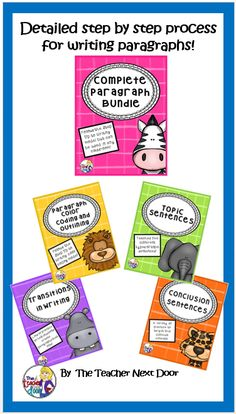 This Bundle combines four of my very popular writing strategy sets: Paragraph Color Coding and Outlining, Topic Sentences, Transitions in Writing, and Conclusion Sentences. Everything you need is here to help your students craft beautifully written paragraphs, and it is Common Core aligned! $
