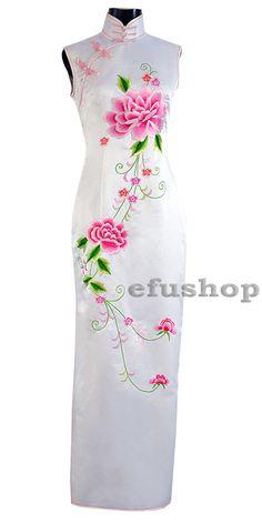 White silk sleeveless embroidery cheongsam dress SQE122