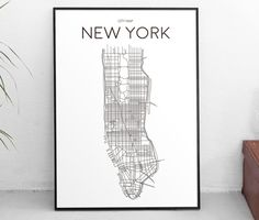 Downloadable Art Print Printable Poster City Map New York Manhattan Minimal Black and White Scandinavian Design Artwork Gift