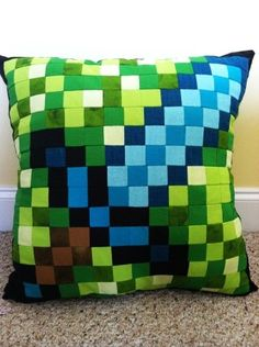 Blue Diamond Sword Minecraft Quilted 18 inch Pillow - Green Throw Pillow for 2015 Halloween - LoveItSoMuch.com