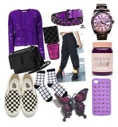 """""""Purple In Your Area"""" by mervesoylemez on Polyvore featuring 4WE, Rolex, Tarina Tarantino, Vans, Lime Crime, IRO, Poster Grl, Gucci and Yves Saint Laurent"""