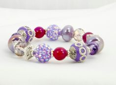 Purple Delight Chunky Beaded Bracelet, Stretch Band, Women's Accessories, Fashion Jewelry, Jesse James Beads, One of A Kind by timetalentjewels on Etsy