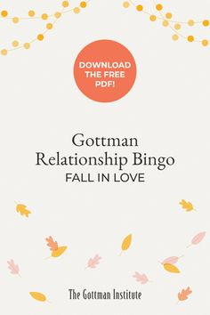 Have you started the Gottman Relationship Bingo challenge?  Add playfulness into your partnership, intensify your physical connection, and have deeper conversations—all while playing this Gottman Method-inspired version of bingo available to our Love Notes newsletter subscribers.  Sign up for Love Notes to start playing today. Relationships Are Hard, How To Improve Relationship, Gottman Method, Gottman Institute, John Gottman, Being Good, Love Can, Love Notes, Bingo