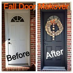 My Fall Door Makeover :) Painted the Door and Made a Burlap Wreath