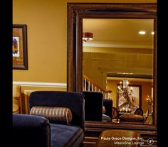 Masculine Lounge - traditional - living room - dc metro - Paula Grace Designs, Inc. Dark Wooden Floor, Blue Velvet Chairs, Mirrored Furniture, Dining Nook, Exposed Wood, First Apartment, Floor Mirror, Modern Exterior, Decoration