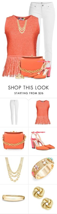 """Coral Top"" by houston555-396 ❤ liked on Polyvore featuring Paige Denim, MSGM, Alexander McQueen, Jimmy Choo, Marco Bicego, ABS by Allen Schwartz and David Yurman"