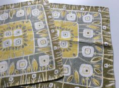 50s vintage mid century modern pair of tablecloths by Inspiria