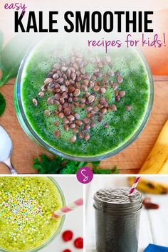 Easy Kale Smoothie Recipes for Kids: What do you do when your kids refuse to eat veggies? Easy. Hide them in a YUMMY smoothie and they'll never guess!