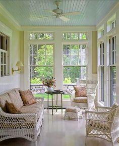 Love the transom windows .Love the transom windows .Love the transom windows . More sunroom ideas - Enclosed Porches, Screened In Porch, Front Porches, Haint Blue Porch Ceiling, White Ceiling, 3 Season Room, Three Season Porch, Porch Doors, Blue Ceilings