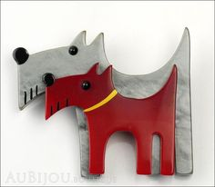 Marie-Christine Pavone Brooch Double Dog Grey Red Galalith Paris France Front