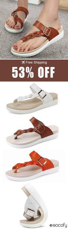 e5c7d929900e56 SOCOFY Big Size Women Beach Flat Buckle Clip Toe Flat Open Heel Flip Flops  Sandals#sandal#beach#fla