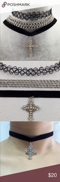 **Lowered** Great Chance to Get it ! Cross Choker Silver Cross Coker. 3 pieces Set. Color: Silver  No offers Jewelry Necklaces