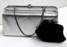 Lovely Vintage Silver Clutch or Wristlet With Attached Coin Purse 1960's by PastPrezence on Etsy