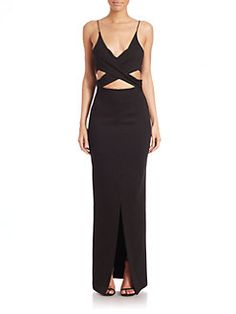 NICHOLAS - Ponte Angled Wrap Gown