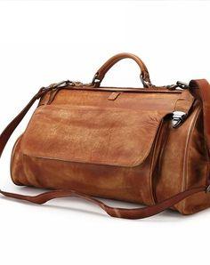 c2f9f4e5b14 Vintage Leather Mens Large Doctor Bag Weekender Bag Doctor Travel Bag  Duffle Bag for Men